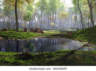 3D Rendering of a Fantasy Forest Landscape - 3D Illustration