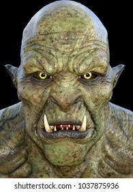 3d rendering fantasy green head orc isolated on black
