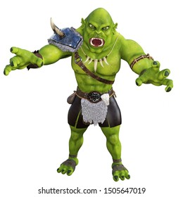 3d rendering fantasy orc with green skin and long teeth isolated