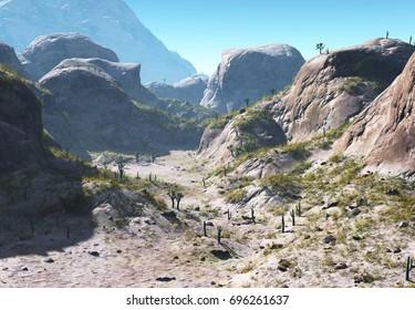 3D Rendering of a Fantasy Stony Desert Landscape - 3D Illustration