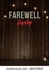 3d rendering of farewell party word on wood wall