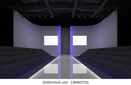 3D Rendering of Fashion podium Catwalk runway model stage empty Design interior Illustration