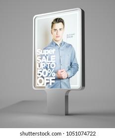 3d rendering of fashion sale advertising bilboard
