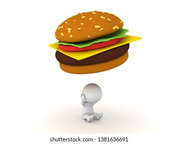 3D Rendering of fast food addiction image.  Fast food addiction concept. 3D Rendering isolated on white.