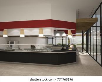 3d rendering of a fast food restaurant interior design