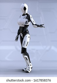 3D rendering of a female android robot standing with its arm out like she is showing something. Futuristic ai concept.