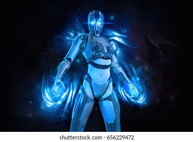 3d rendering of a female cyborg with energy