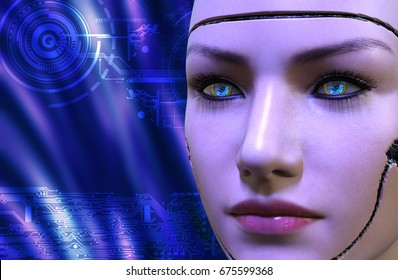 3D rendering of a female robot face at blue background with electronic circuits