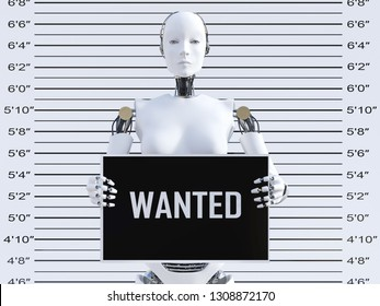 3D rendering of a female robot holding a Wanted sign while getting her mug shot. Concept of cyber crime and hackers.
