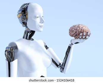 3D rendering of a female robot holding a human brain that she is looking at. Futuristic artificial intelligence concept.