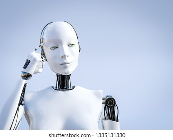3D rendering of a female robot looking like she is thinking about something using her artificial intelligence.