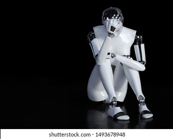 3D rendering of a female robot sitting in solitude on the floor and looking sad or depressed. Black background with copyspace.