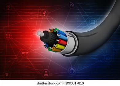 3d rendering Fiber optical cable detail