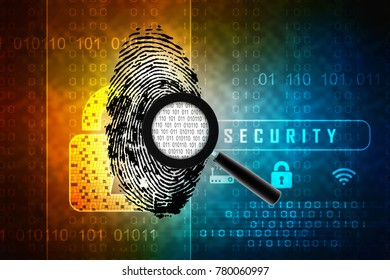 3d rendering Fingerprint and magnify glass with binary code