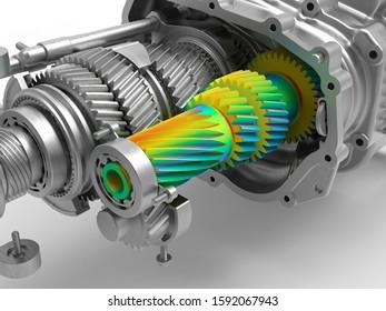 3D rendering - finite element analysis on gear box