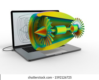 3d rendering - finite element analysis on a plane turbine processed on a laptop