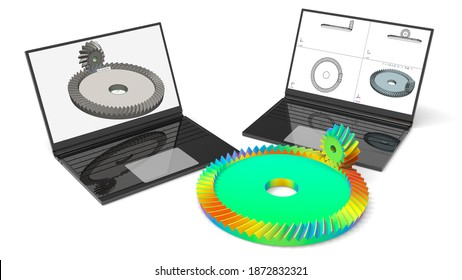 3D rendering - finite element analysis of a inclined teeth gear assembly