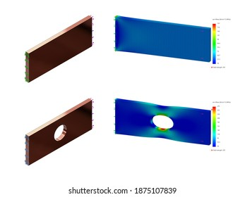 3D Rendering of Finite Element Analysis of Plate with Hole Having Higher Stress As a Result of Discontinuity