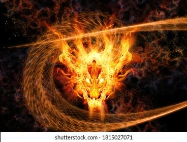 3D rendering fire dragon swirling in the dark