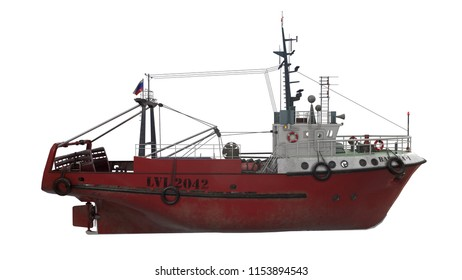 "3D rendering of fishing trawler type ""Baltic"""