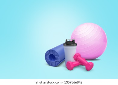 3d rendering of fitball, yoga mat, dumbbells and plastic shaker on blue background. Fitness and sports. Healthy lifestyles. Sports and equipments.