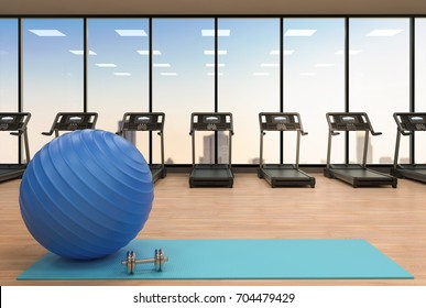 3d rendering fitness ball on yoga mat in gym