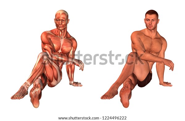 3d rendering fitness man stretching buttock isolated on white