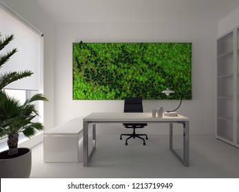 3d rendering fitowall in modern white office.