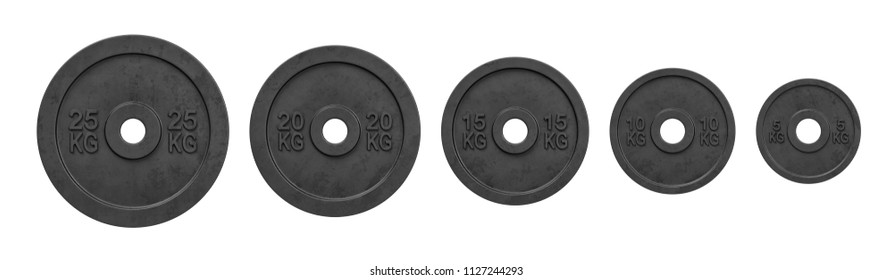 3d rendering of five black barbell weights of different mass hanging in one line on a white background. Lifting weights. Bodybuilding and sport. Getting fit.