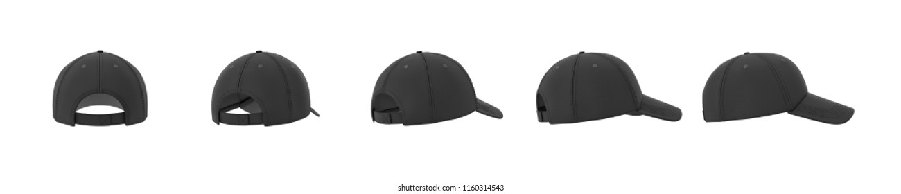 3d rendering of five black baseball caps shown in one line from back to side view on a white background. Baseball gear. Sport style. American headwear.