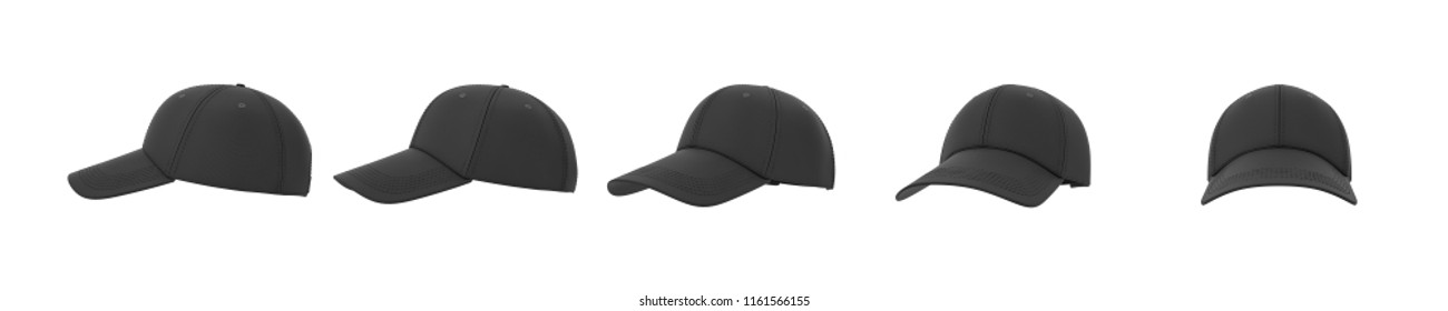 3d rendering of five black baseball caps shown in one line from side to front view on a white background. Baseball gear. Sport style. American headwear.