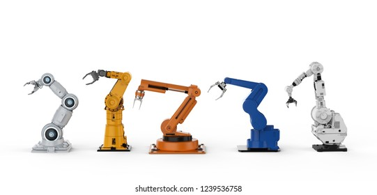 3d rendering five robotic arms in a row on white background