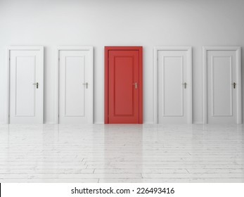3d Rendering of Five Similar Style Single Doors, One is Red and Four are White, on Plain Wall Inside an Empty Building.