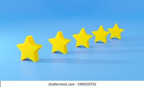3D rendering of five stars on blue background