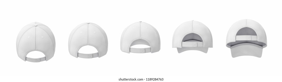 3d rendering of five white baseball caps shown in one line in a back view in different angles. Different baseball caps. Sport headwear. Baseball cap visor.