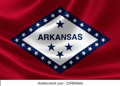 3D rendering of the flag of Arkansas on satin texture.