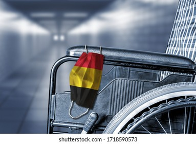 3D rendering of flag of Belgium on face mask hanging on empty wheelchair in hallway of Belgian hospital or retirement nursing care home with copy space. Concept of healthcare during pandemic.