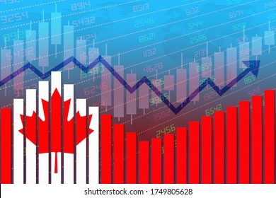3D rendering of flag of Canada on bar chart concept of economic recovery and business improving after crisis such as Covid-19 or other catastrophe as economy and businesses reopen again.