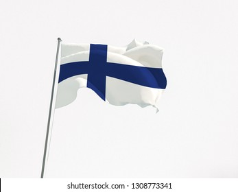 3d rendering flag Finland on white background