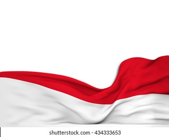 3D rendering Flag of Indonesia,waving over a white background
