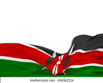 3D rendering Flag of Kenya,waving over a white background
