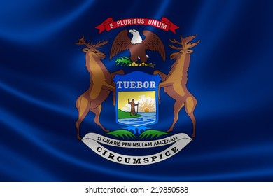 3D rendering of the flag of Michigan on satin texture.