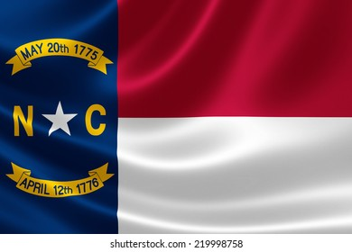 3D rendering of the flag of North Carolina on satin texture.
