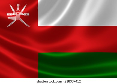 3D rendering of the flag of Oman on satin texture.