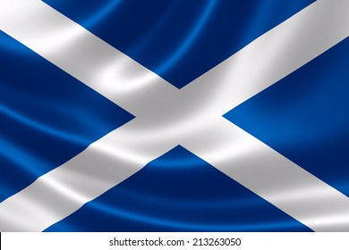 3D rendering of the flag of Scotland on satin texture.