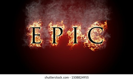 3D rendering flame of fire epic text on black background