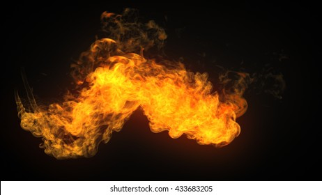 3d rendering flamethrower fire isolated on dark background