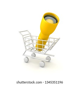 3D Rendering of flashlight in shopping cart. 3D rendering isolated on white.