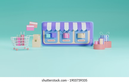 3D rendering flat illustration Online shopping store on mobile application of smartphone. Premium Photo