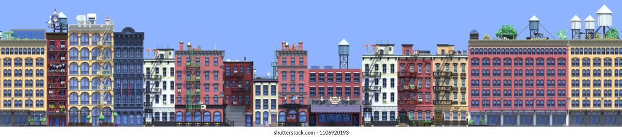 3d rendering of flat isometric block buildings infographic concept. City street on blue background. House icon collection. Building facade front view. Pixel art. New York buildings seamless pattern